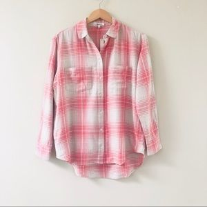 NWT Madewell Flannel Sunday Shirt in Pink Plaid
